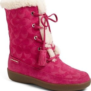 Coach Tuesday Boots in Pink Suede EUC
